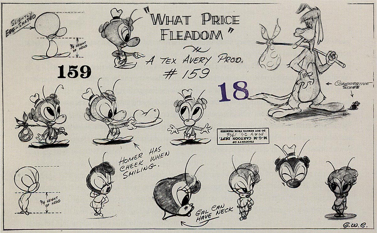 Cartooning Character Design Sherm Cohen Pdf : Inbetweens tex avery model sheets animationresources
