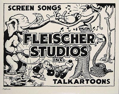 Lobby cared that says SCREEN SONGS / FLEISCHER STUDIOS INC. / TALKARTOONS with animal characters in the background