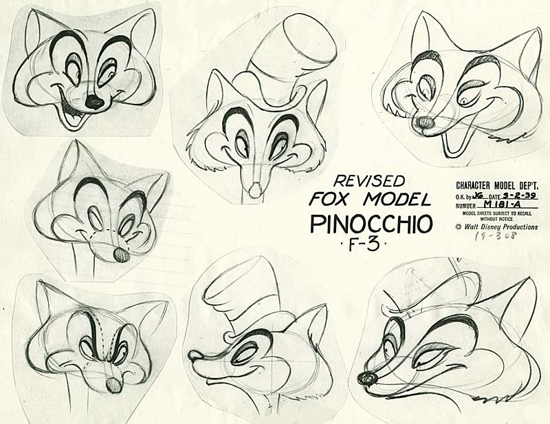 Disney Character Design Study : Design reluctant dragon and pinocchio model sheets