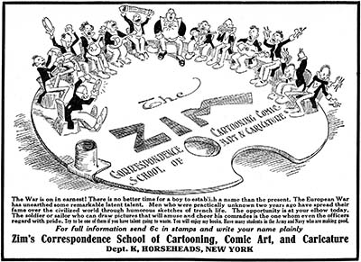 Zim's Cartooning Course Advertisement